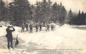 Ballon d'Alsace skiers, piste, Feb 1910
