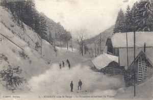 Col de Bussang sous la Neige - La frontière en sortant du Tunnel