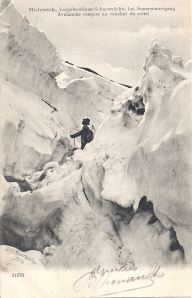 Hohneck Avalanche rompue au coucher du soleil posted 1904