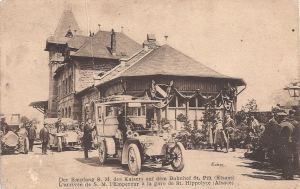 St-Hippolyte Emperor arrival at station posted Aug 1912