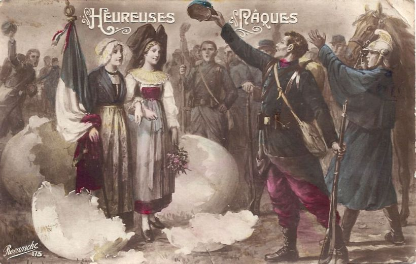 Patriotic Hereuses Pâques sent 1915